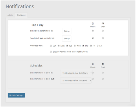 Set employee clock in and out notifications with timesheet reminders
