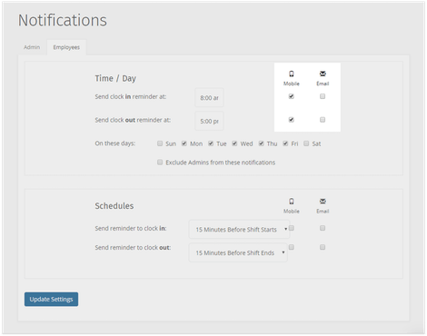 Customize your notifications withe your timesheet reminders