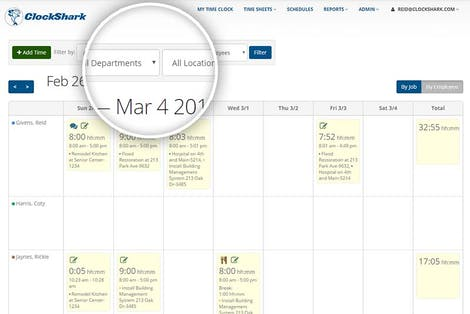 View and Edit Timesheets by Department and Location