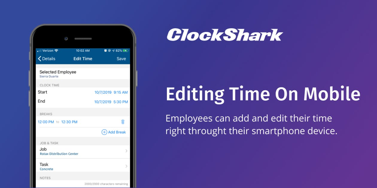 New ClockShark Feature: Add and Edit Time on Mobile