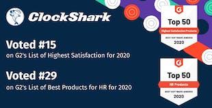 ClockShark Wins Best Software Award 2020 from G2