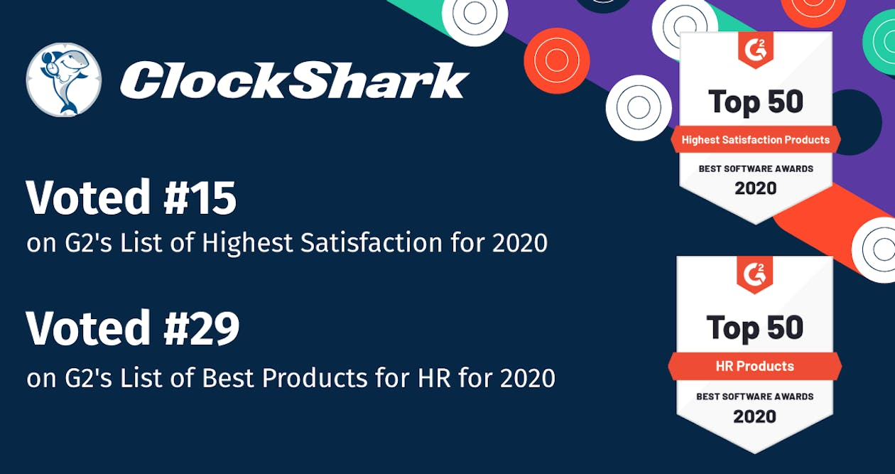ClockShark Wins Best‌ ‌Software‌ ‌Award 2020 from G2