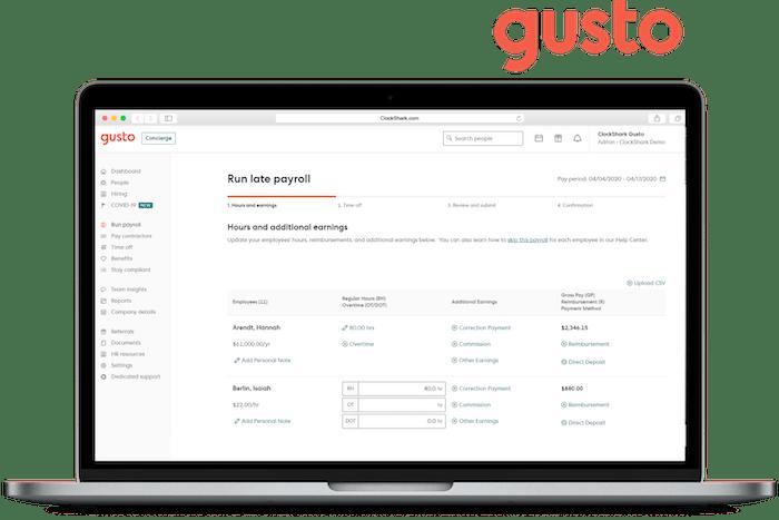 Gusto and ClockShark Integration