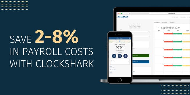 Save 2-8% in payroll costs with ClockShark