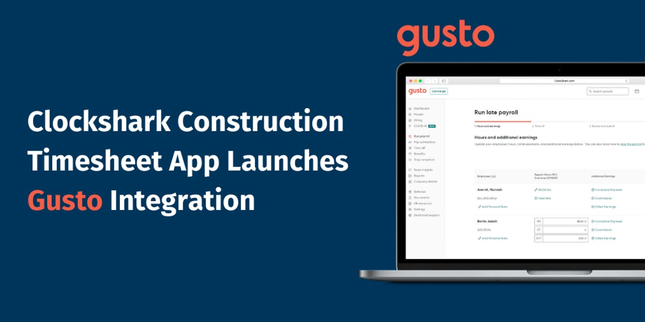 Clockshark Construction Timesheet App Launches Gusto Integration