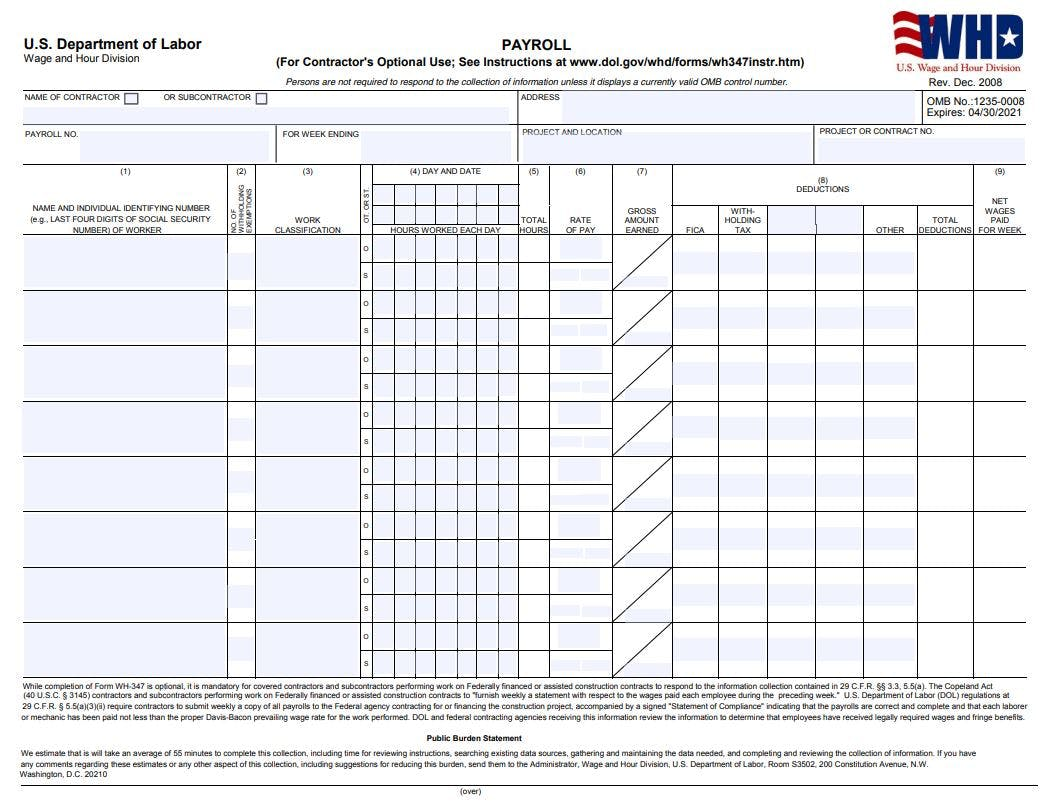 Certified Payroll WH-347
