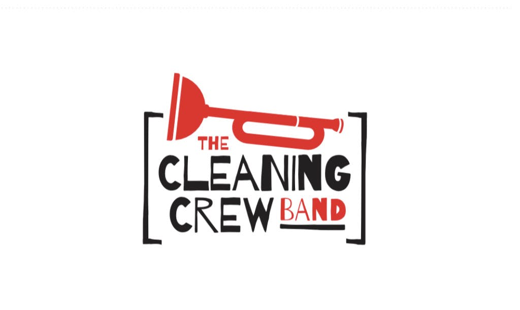 "Russ Williamson 5 piece jazz band called ""the cleaning crew"" logo. Located in chattanooga, tennesee"