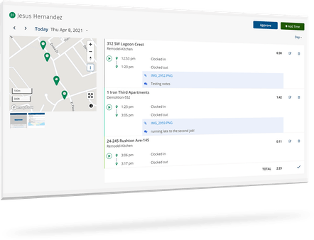 """GPS Tracking - View a """"breadcrumb"""" trail of every site visited by employees throughout the workday"""