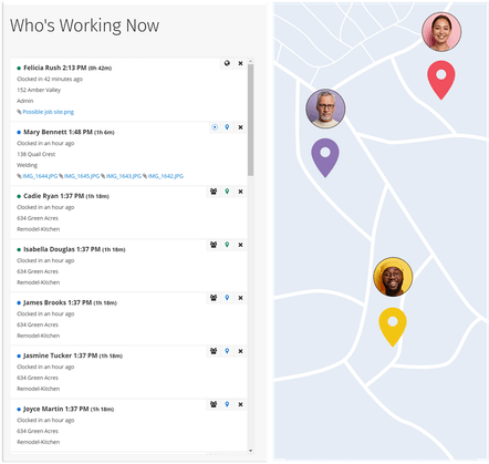 GPS Tracking - Find out exactly who's working and who isn't at any time on a single map