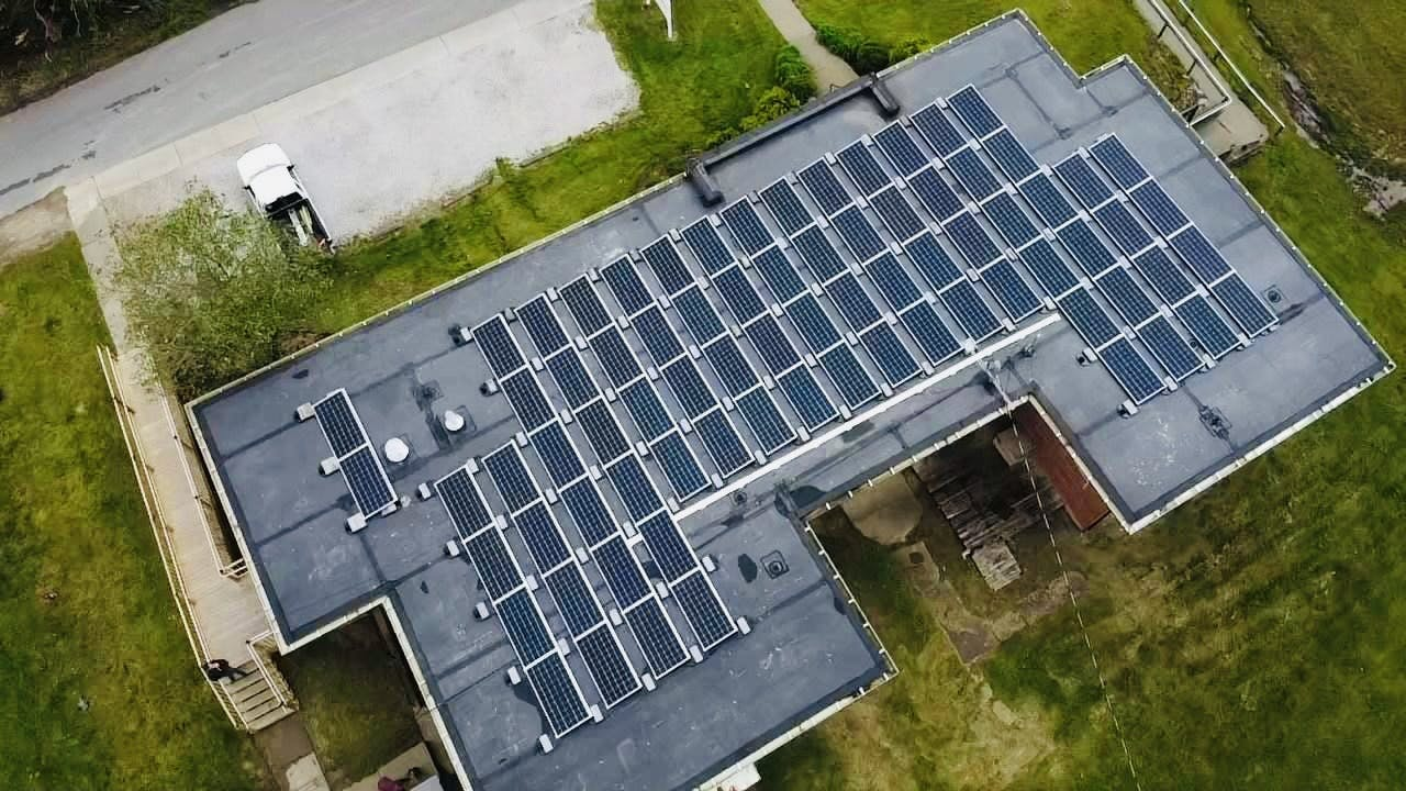 Appalachian Renewable Power Systems commercial installation with aerial view of panels