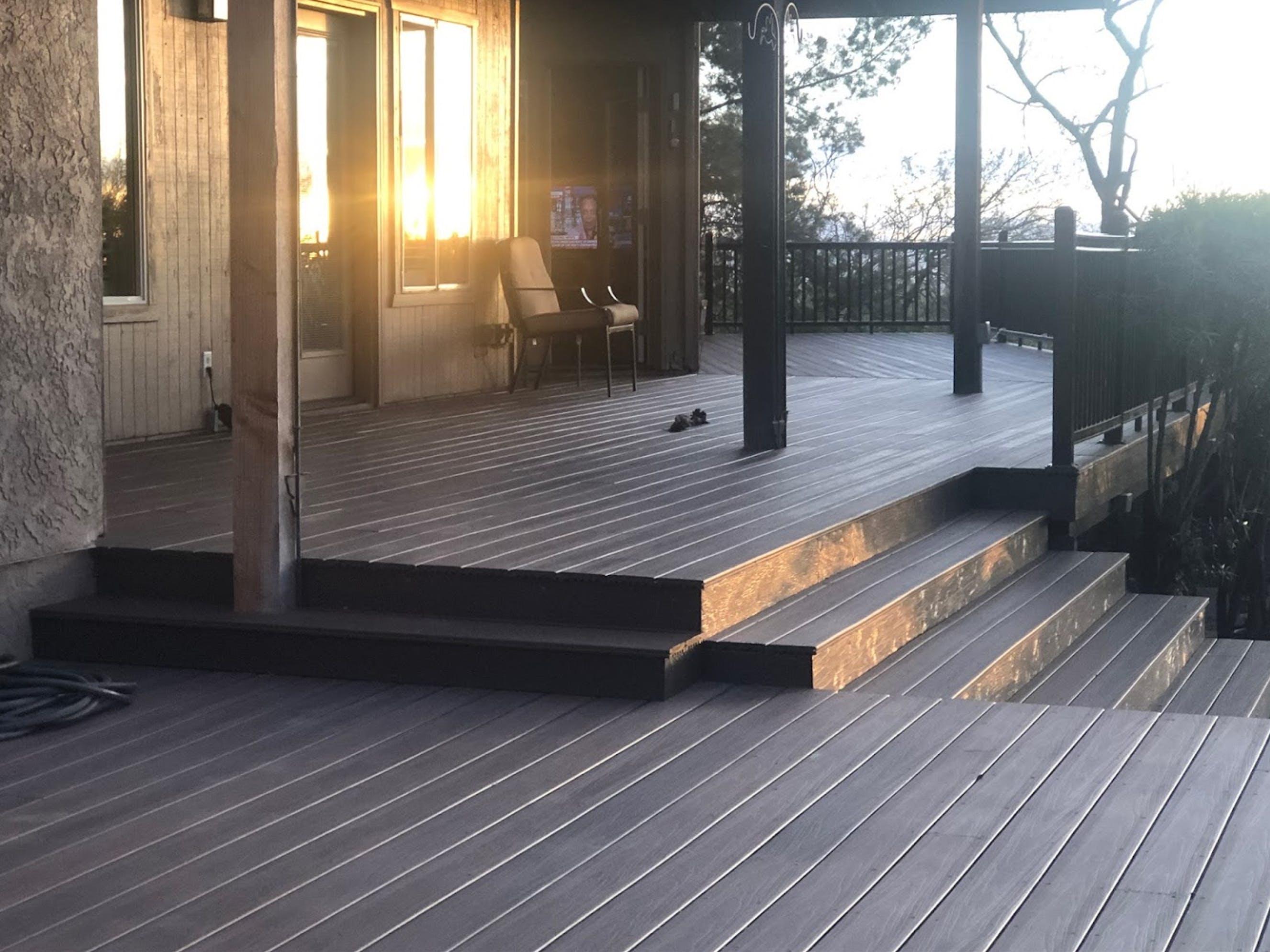 Bear Down Builders build a full length, multi-level composite deck