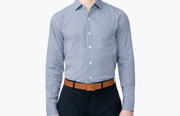 Men's Navy Grid Nylon Aero Dress Shirt on Model Facing Forward