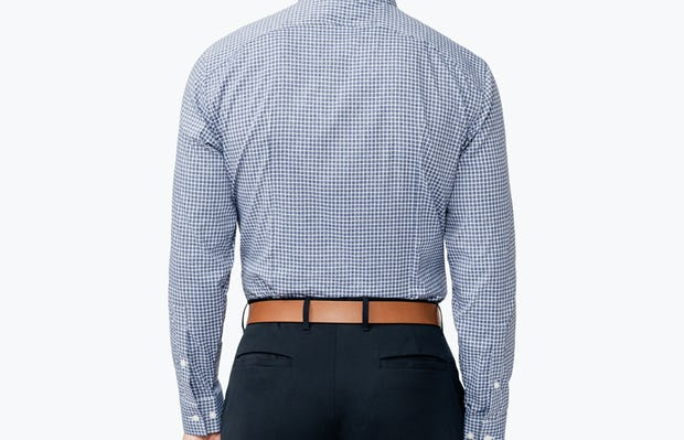 Men's Navy Grid Nylon Aero Dress Shirt on Model Facing Backward