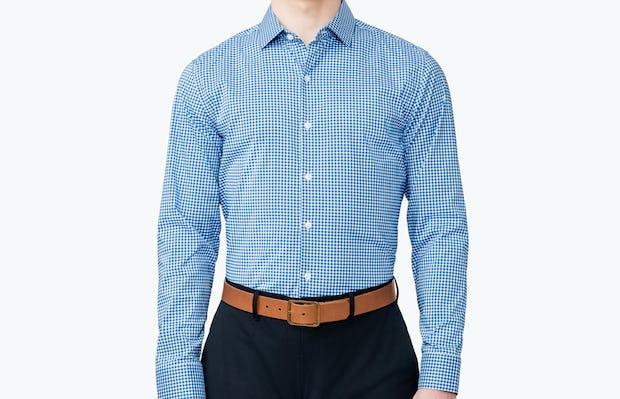 Men's Blue Gingham Aero Dress Shirt on Model Facing Forward