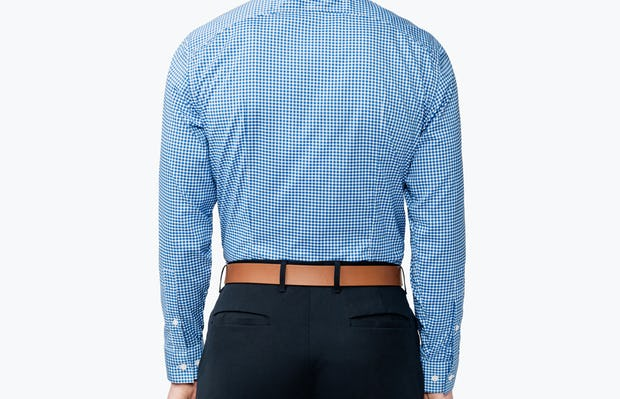Men's Blue Gingham Aero Dress Shirt on Model Facing Backward