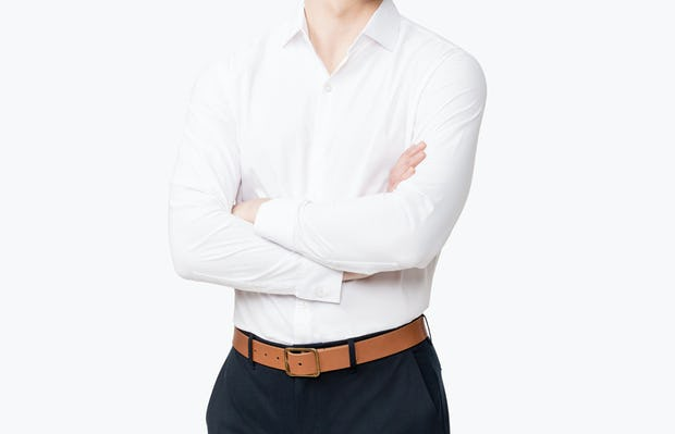 Men's Aero Dress Shirt - White model with arms crossed