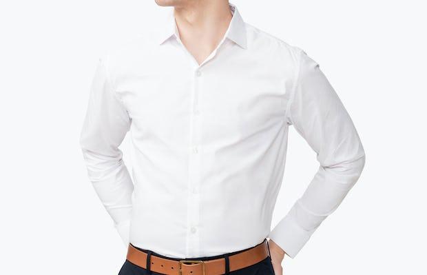 Men's Aero Dress Shirt - White model with hands on hips