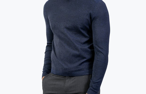 Men's Navy Static Crew Neck Sweater model with hand in pocket