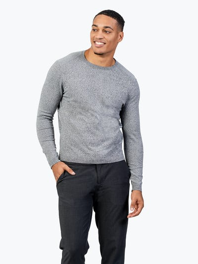 Men's Grey Static Crew Neck Sweater model with hand in pocket