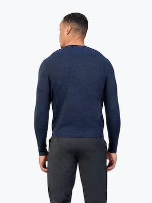 Men's Navy Static Sweater model facing away from camera