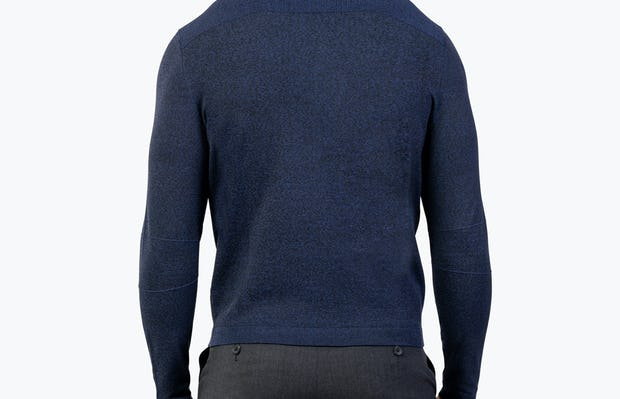 Men's Navy Static Sweater model facing away from camera