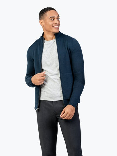 Men's Atlas Merino Full Zip - Navy - Image 4