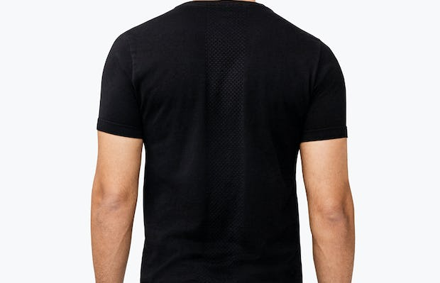 Men's Black Atlas V-Neck Tee model facing away from camera