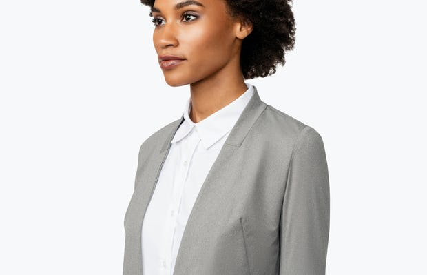 Women's Grey Heather Kinetic Blazer on Model Facing Right