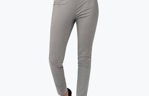 Women's Grey Heather Kinetic Skinny Pants on Model Walking Forward