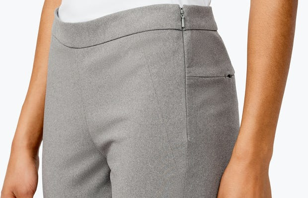 Women's Grey Heather Kinetic Skinny Pants on Model Facing Right in Close-Up of Waistband