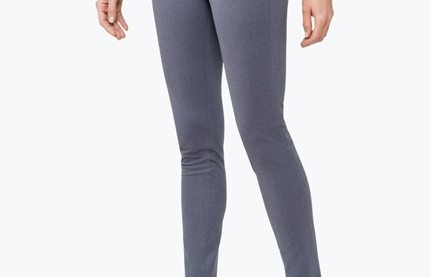 Women's Indigo Heather Kinetic Skinny Pants on Model Walking Right