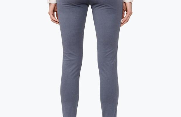 Women's Indigo Heather Kinetic Skinny Pants on Model Facing Backward