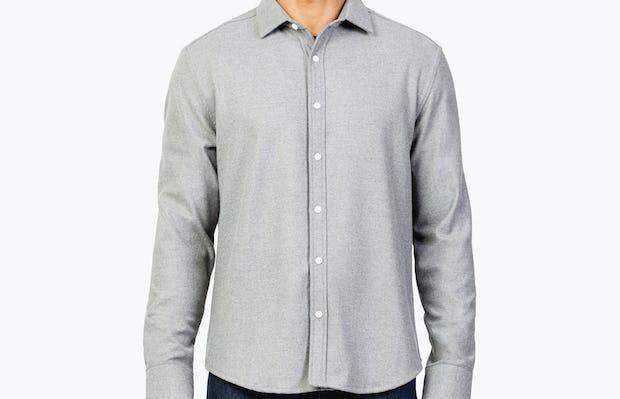 Men's Grey Fusion Overshirt model facing forward