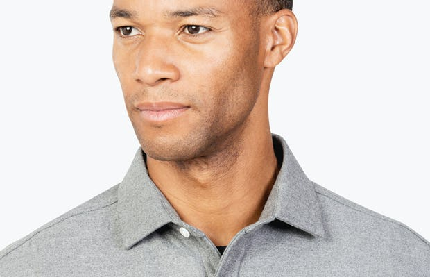 Men's Grey Fusion Overshirt headshot of model looking to the right