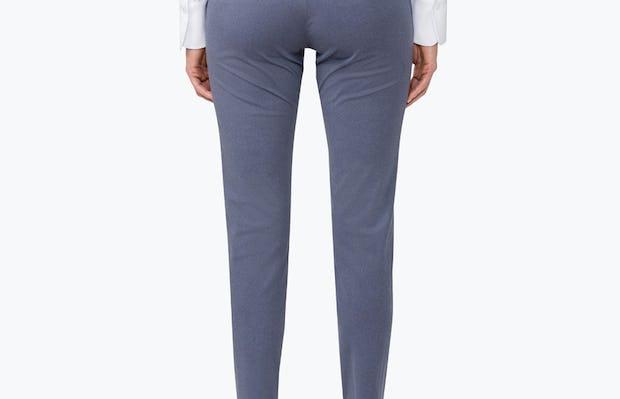 Women's Indigo Heather Kinetic Slim Pants on Model Facing Backward