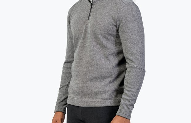 Men's Hybrid Fleece 1/4 Zip - Black and White Tweed - Image 7
