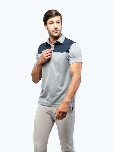 Men's Blue Block Apollo Polo on Model Walking Right