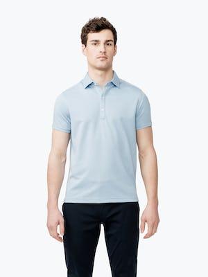 men's blue heather apollo polo model facing forward