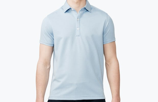 Men's Blue Heather Apollo Polo on model facing forward