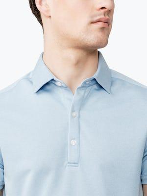 Close up of Men's Blue Heather Apollo Polo on model
