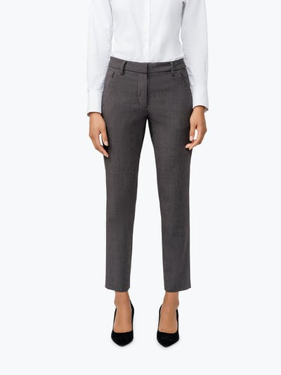 Women's Charcoal Heather Velocity Classic Crop Pant on Model Facing Forward