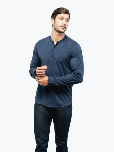 Men's Navy Composite Merino Henley on Model Facing Forward Adjusting Cuff