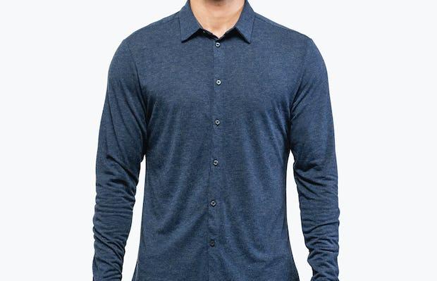 Men's Navy Composite Merino shirt model facing forward