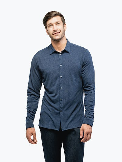 Men's Navy Composite Merino shirt model facing forward