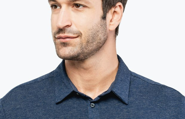 Men's Navy Composite Merino shirt headshot of model looking to the right