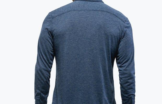 Men's Navy Composite Merino shirt model facing backward