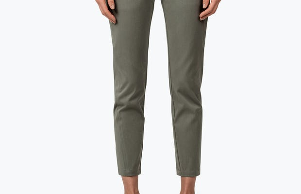 Women's Olive Momentum Chino on Model with Hands by Her Side