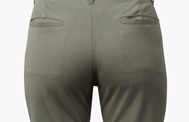 Women's Olive Momentum Chino on Model in Close-up of Pant Rear