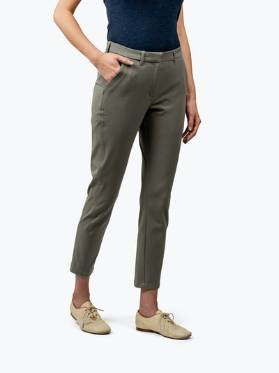 Women's Olive Momentum Chino on Model with Hand in Her Right Pocket