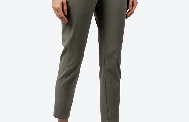 Women's Olive Momentum Chino on Model Facing to Her Left